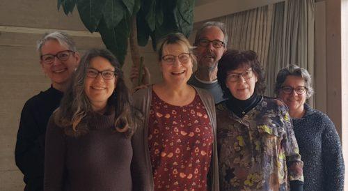 De gauche à droite : Erica Cséfalvay, Solange Ruedin, Marie-Claude Favre, Jean-Pierre Cap, Marinette Maillard, Anne-Marie Métais