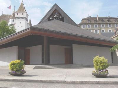 Eglise catholique de la Colombière, à Nyon, construite par l'architecte Suard, en 1977. 28 mai 2008.