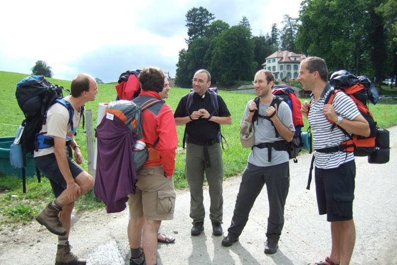 Pèlerinage des pères 2011, 4 : L'abbé Nicolas Glasson est un père fervent de ce pèlerinage.