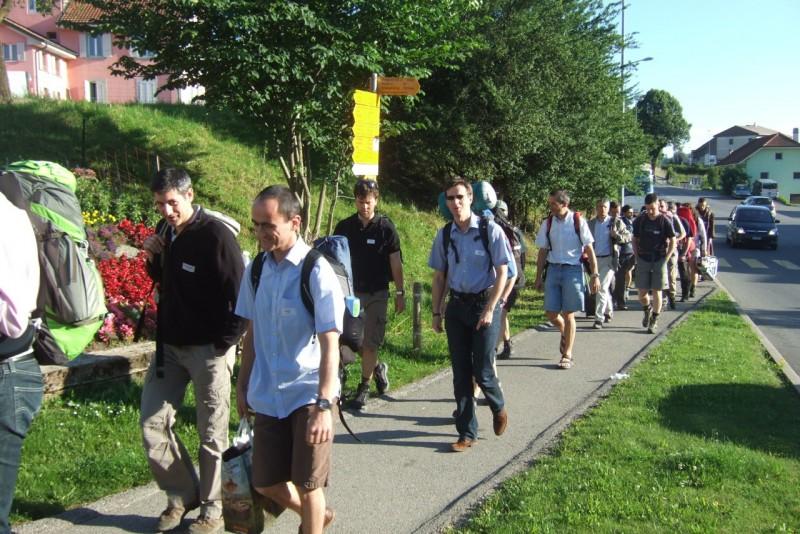 Pèlerinage des pères 2012, 1 :  Mise en route à Romont