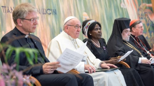 """21 June 2018, Geneva, Switzerland: Ecumenical Encounter between Pope Francis and the World Council of Churches. On 21 June 2018, the World Council of Churches receives a visit from Pope Francis of the Roman Catholic Church. Held under the theme of """"Ecumenical Pilgrimage - Walking, Praying and Working Together"""", the landmark visit is a centrepiece of the ecumenical commemoration of the WCC's 70th anniversary. The visit is only the third by a pope, and the first time that such an occasion was dedicated to visiting the WCC."""