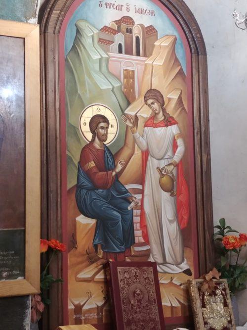 Icône orthodoxe de Jésus et de la Samaritaine
