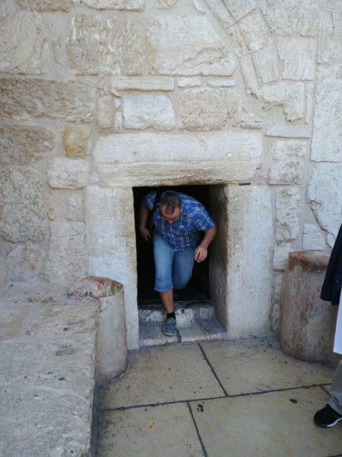 Porte de l'église de la Nativité à Bethléem